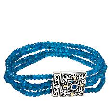 Bali RoManse Sterling Silver and 18K Neon Apatite Bead Bracelet