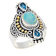 Bali RoManse Sterling Silver and 18K Opal and Swiss Blue Topaz Ring