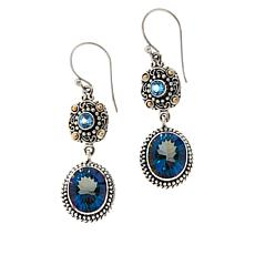 Bali RoManse Sterling Silver and 18K Oval Quartz and Gemstone Earrings