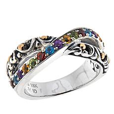 Bali RoManse Sterling Silver and 18K Pavé Gemstone Crossover Ring