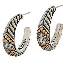 Bali RoManse Sterling Silver and 18K Pavé Gemstone Hoop Earrings