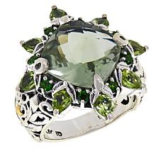 Bali RoManse Sterling Silver and 18K Prasiolite and Multi-Gem Ring
