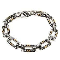 Bali RoManse Sterling Silver and 18K Rectangular Link Bracelet