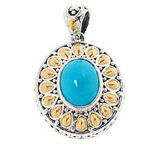 Bali RoManse Sterling Silver and 18K Turquoise Scrollwork Pendant