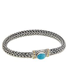 Bali RoManse Sterling Silver and 18K Turquoise Woven Chain Bracelet