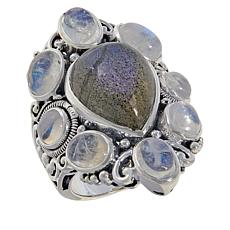 Bali RoManse Sterling Silver Gemstone Cabochon Pear-Shaped Ring