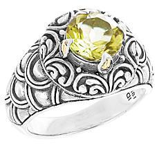 Bali RoManse Sterling Silver Gemstone Scalloped Ring