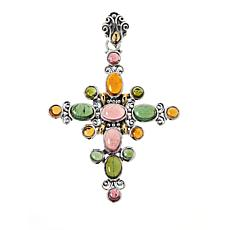 Bali RoManse Sterling Silver Multi-Color Tourmaline Cross Pendant