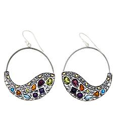 Bali RoManse Sterling Silver Multigemstone Scroll Design Drop Earrings