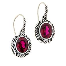 Bali RoManse Sterling Silver Oval Gemstone Cable Drop Earrings