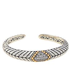 Bali RoManse Sterling Silver Pavé Gemstone Hinged Cuff