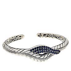 Bali RoManse Sterling Silver Pavé Gemstone Rope Pattern Cuff