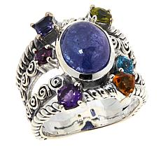 Bali RoManse Sterling Silver Tanzanite and Multi-Gem Multi-Row Ring