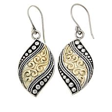 Bali RoManse Sterling Silver with 18K Dot and Scroll Drop Earrings