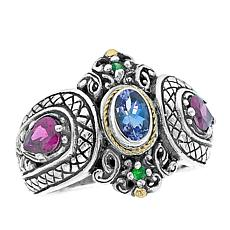 Bali RoManse Tanzanite and Multigemstone Textured Ring