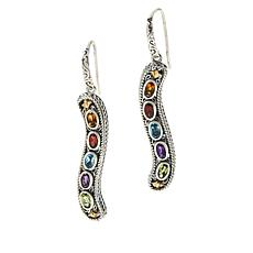 "Bali RoManse ""Waterfall""  Sterling Silver and 18K Gem Drop Earrings"