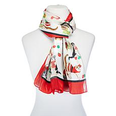 Basha Christmas Cat Oblong Scarf