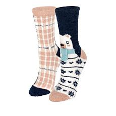 BEARPAW® 2-pack 3D Animal Cozy Crew Socks