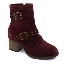 BEARPAW® Amethyst Suede Block-Heel Ankle Bootie  with NeverWet™