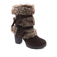 BEARPAW® Bridget Suede and Faux Fur Block Heel Boot
