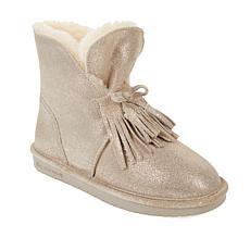 BEARPAW® Christie Suede Sheepskin Fringe Boot with NeverWet™