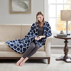 Beautyrest Heated Ogee Printed Knitted Microlight Oversized Throw -...
