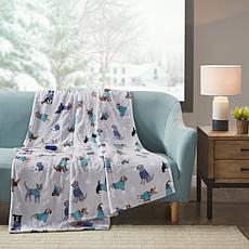 """Beautyrest Oversized Plush Printed Heated Throw 60""""x70"""" - Grey Dogs"""