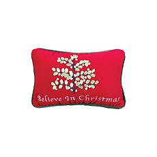 Believe in Christmas Embroidered Pillow