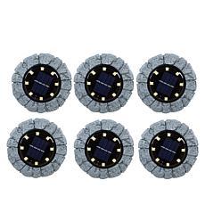 Bell + Howell Disk Lights Solar Ultra Stone 6-pack