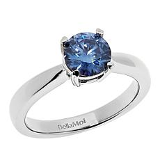BellaMoi 1.25ct Pink or Blue Created Moissanite Solitaire Ring