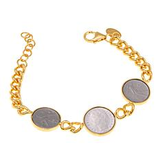 Bellezza 100 and 50 Lira Coin Bronze Curb-Link Bracelet