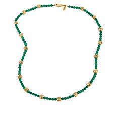 "Bellezza 20"" Green Agate Textured Bead Necklace"