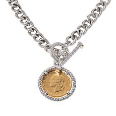 Bellezza 200 Lira Coin Sterling Silver Textured Curb Necklace