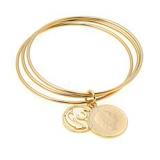 Bellezza 5 and 200 Lira Coin Bronze Interlocking Bangle Bracelet