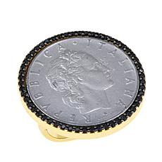 Bellezza 50 Lira Coin Black Spinel  Frame Bronze Ring