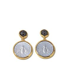 "Bellezza ""Bee"" Lira Coin .75ctw Black Spinel Earrings"