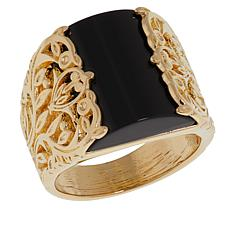 Bellezza Black Agate Bronze Floral Scroll Ring