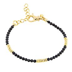 Bellezza Black Spinel Bronze Beaded Stacked Station Bracelet