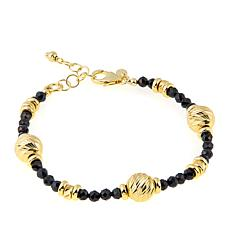 Bellezza Black Spinel Bronze Beaded Station Bracelet