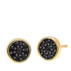 Bellezza Black Spinel Bronze Round Pavé Stud Earrings