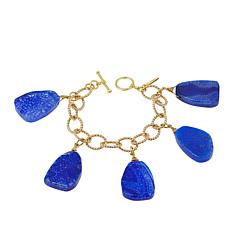 Bellezza Blue Agate Bronze Dangle Link Bracelet