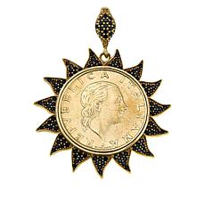 Bellezza Bronze Black Spinel 200 Lira Coin Sun Pendant