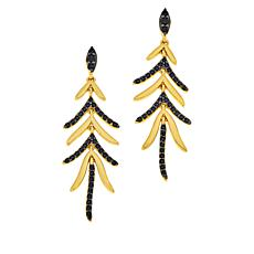 Bellezza Bronze Black Spinel Chevron Chandelier Drop Earrings