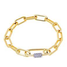 "Bellezza Bronze Cubic Zirconia Oval-Link 7-1/2"" Pavé Clasp Bracelet"