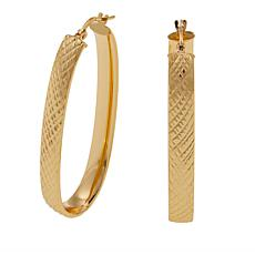 Bellezza Bronze Diamond-Cut Elongated Oval Hoop Earrings