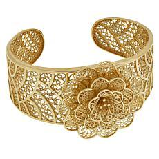 Bellezza Bronze Floral Filigree Cuff Bracelet