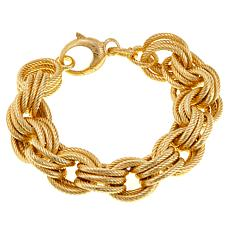 Bellezza Bronze Ribbed Triple Oval Rolo-Link Lobster Bracelet