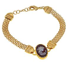 "Bellezza Bronze Simulated Cameo 7-1/2"" Link Bracelet"
