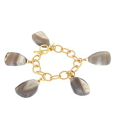 Bellezza Brown-Gray Agate Bronze Dangle Link Bracelet