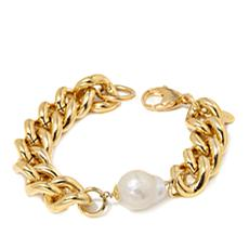 Bellezza Cultured Pearl Bronze Curb-Link Bracelet